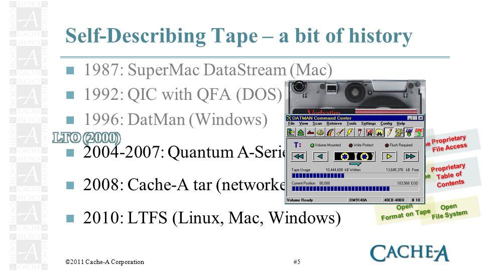 Format Comparison Single File Restore Multi-tape Volumes Library Option ©2011 Cache-A Corporation#16    LTFStar LTFS baselineCache- A