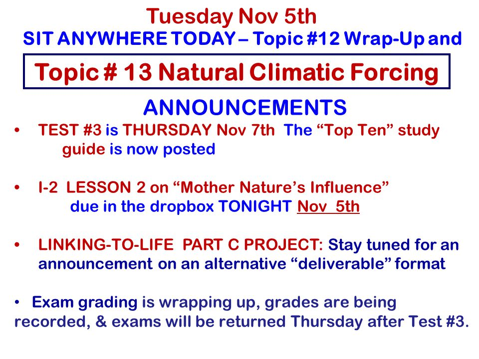 TOPIC #12 Wrap Up on GLOBAL CLIMATE PATTERNS