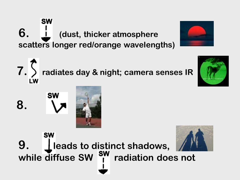 2.3. 4. Noon: more & dusk: more 1. gases of atmosphere scatter shorter blue wavelengths 5.