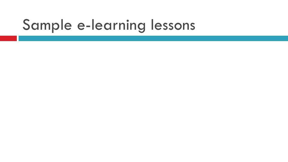 Sample e-learning lessons