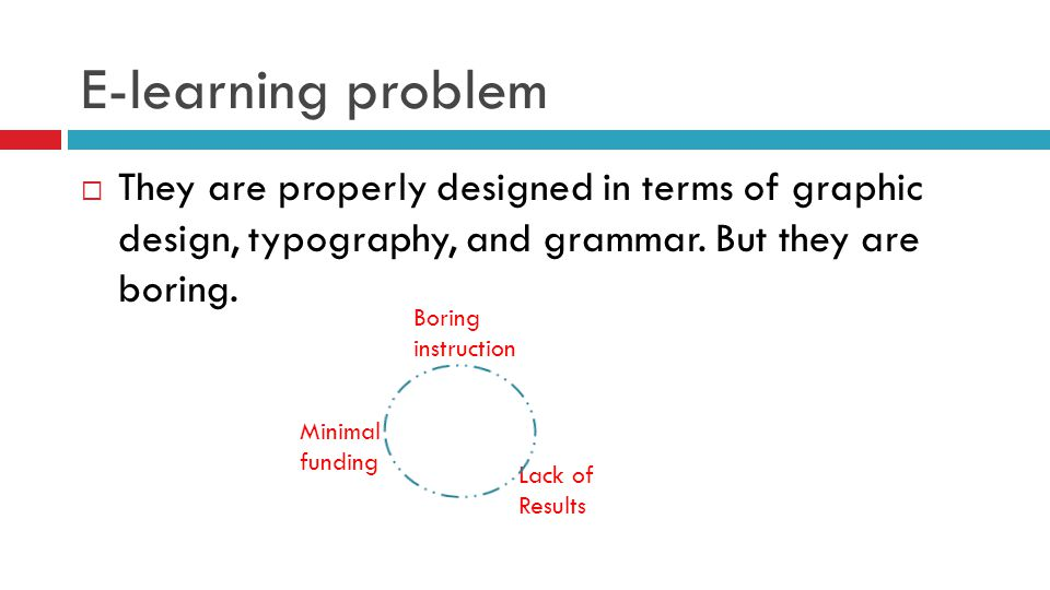 E-learning problem  They are properly designed in terms of graphic design, typography, and grammar.
