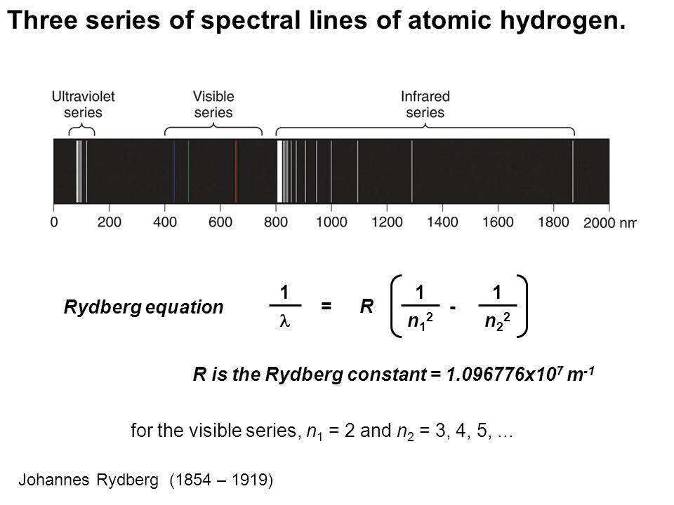 =R Rydberg equation - 1 1 n22n22 1 n12n12 R is the Rydberg constant = 1.096776x10 7 m -1 Three series of spectral lines of atomic hydrogen.