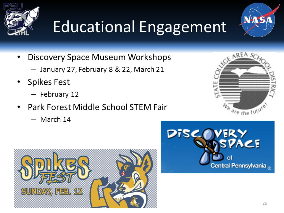 Discovery Space Museum Workshops – January 27, February 8 & 22, March 21 Spikes Fest – February 12 Park Forest Middle School STEM Fair – March 14 Educational Engagement 26