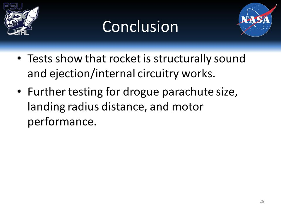 Conclusion Tests show that rocket is structurally sound and ejection/internal circuitry works.