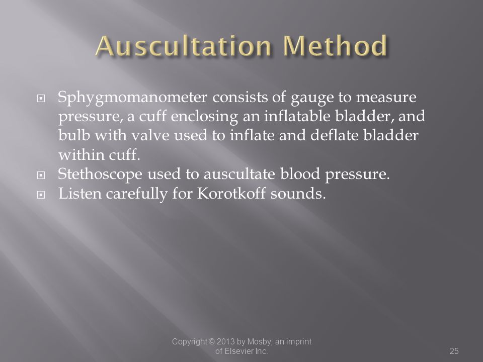  Sphygmomanometer consists of gauge to measure pressure, a cuff enclosing an inflatable bladder, and bulb with valve used to inflate and deflate blad