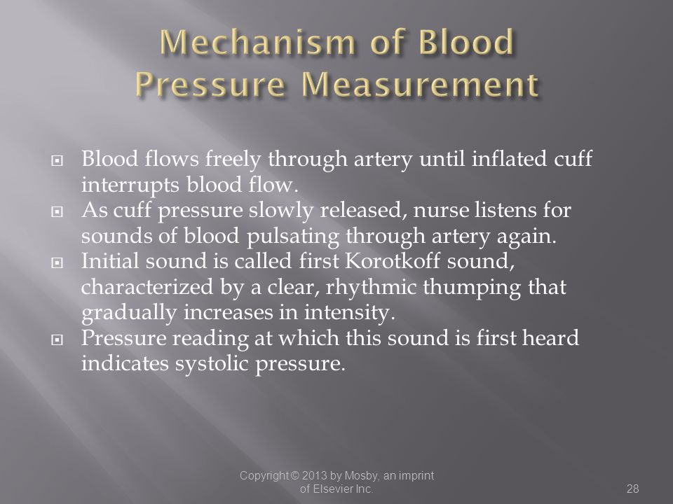  Blood flows freely through artery until inflated cuff interrupts blood flow.  As cuff pressure slowly released, nurse listens for sounds of blood p