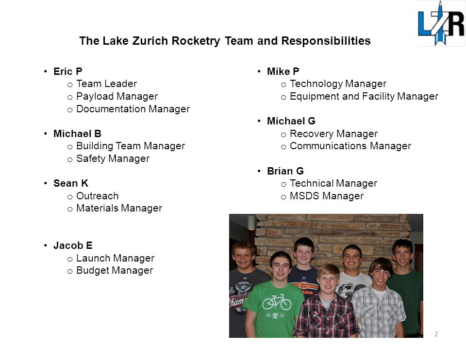 Eric P o Team Leader o Payload Manager o Documentation Manager Michael B o Building Team Manager o Safety Manager Sean K o Outreach o Materials Manager Jacob E o Launch Manager o Budget Manager Mike P o Technology Manager o Equipment and Facility Manager Michael G o Recovery Manager o Communications Manager Brian G o Technical Manager o MSDS Manager The Lake Zurich Rocketry Team and Responsibilities 2