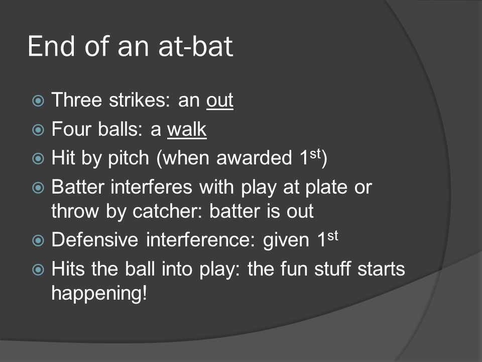 End of an at-bat  Three strikes: an out  Four balls: a walk  Hit by pitch (when awarded 1 st )  Batter interferes with play at plate or throw by catcher: batter is out  Defensive interference: given 1 st  Hits the ball into play: the fun stuff starts happening!