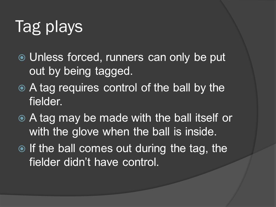 Tag plays  Unless forced, runners can only be put out by being tagged.