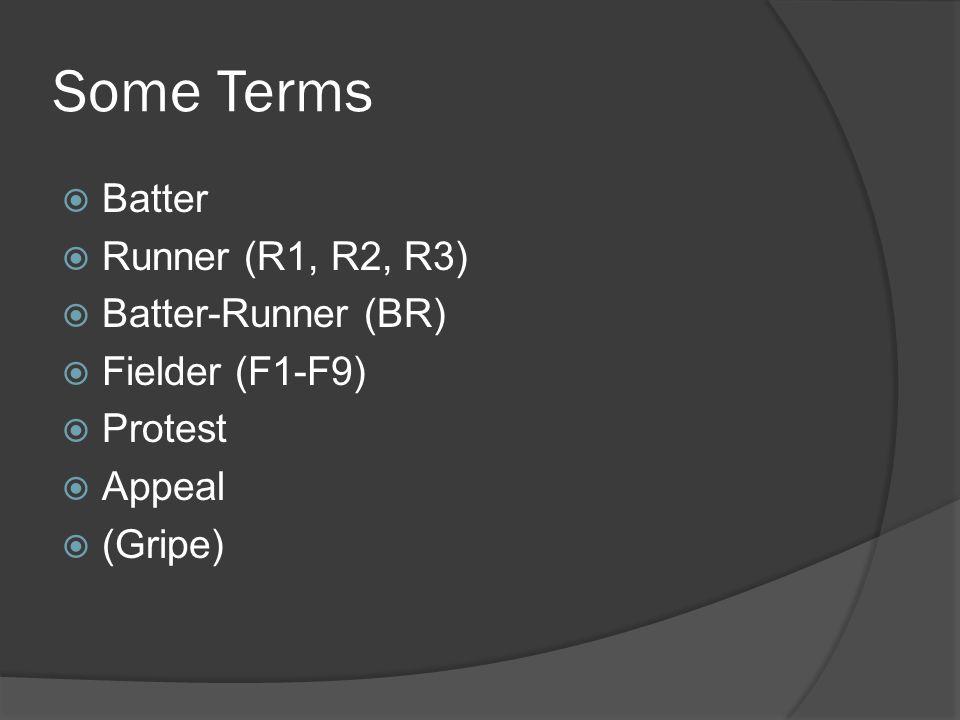 Some Terms  Batter  Runner (R1, R2, R3)  Batter-Runner (BR)  Fielder (F1-F9)  Protest  Appeal  (Gripe)