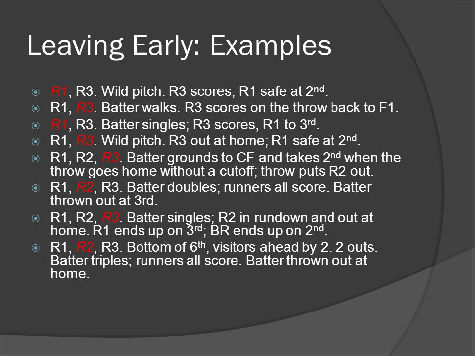 Leaving Early: Examples  R1, R3. Wild pitch. R3 scores; R1 safe at 2 nd.