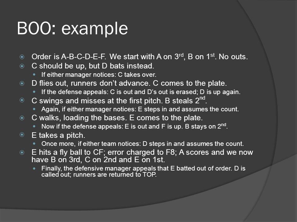 BOO: example  Order is A-B-C-D-E-F. We start with A on 3 rd, B on 1 st.
