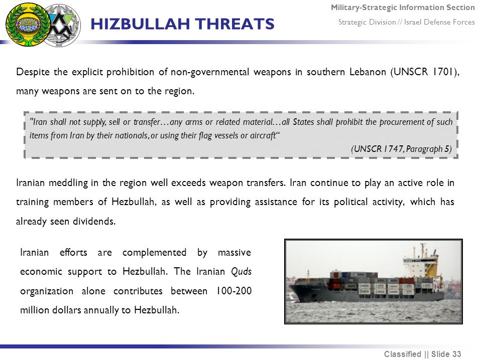 Military-Strategic Information Section Strategic Division // Israel Defense Forces Classified || Slide 33 HIZBULLAH THREATS Despite the explicit prohibition of non-governmental weapons in southern Lebanon (UNSCR 1701), many weapons are sent on to the region.