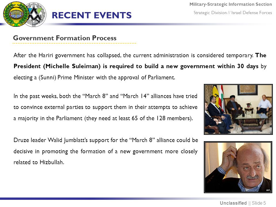 Military-Strategic Information Section Strategic Division // Israel Defense Forces Unclassified || Slide 5 RECENT EVENTS Government Formation Process After the Hariri government has collapsed, the current administration is considered temporary.