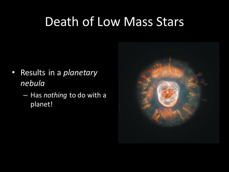 Death of Low Mass Stars Results in a planetary nebula – Has nothing to do with a planet!