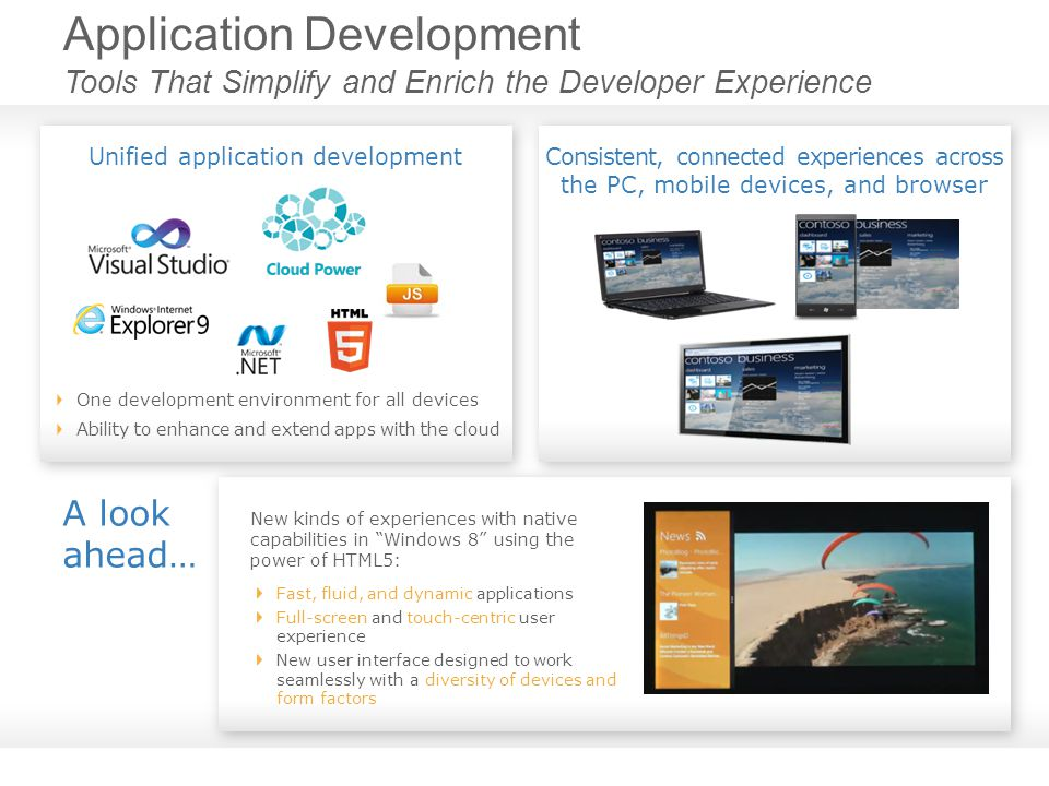 Application Development Tools That Simplify and Enrich the Developer Experience A look ahead… New kinds of experiences with native capabilities in Windows 8 using the power of HTML5: Fast, fluid, and dynamic applications Full-screen and touch-centric user experience New user interface designed to work seamlessly with a diversity of devices and form factors One development environment for all devices Ability to enhance and extend apps with the cloud Unified application developmentConsistent, connected experiences across the PC, mobile devices, and browser