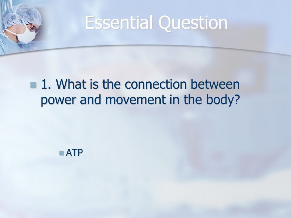 Essential Question 1.What is the connection between power and movement in the body.