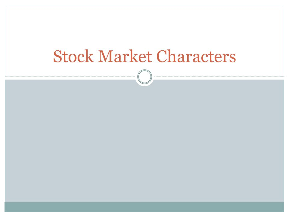 Stock Market Characters