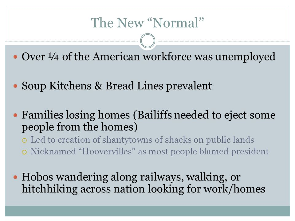 The New Normal Over ¼ of the American workforce was unemployed Soup Kitchens & Bread Lines prevalent Families losing homes (Bailiffs needed to eject some people from the homes)  Led to creation of shantytowns of shacks on public lands  Nicknamed Hoovervilles as most people blamed president Hobos wandering along railways, walking, or hitchhiking across nation looking for work/homes
