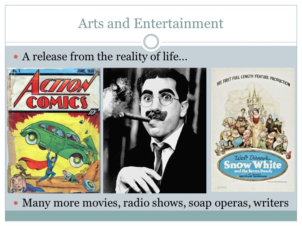 Arts and Entertainment A release from the reality of life… Many more movies, radio shows, soap operas, writers