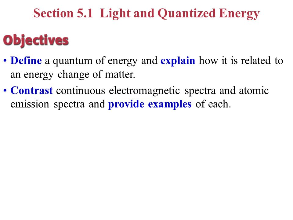 Section 5.1 Light and Quantized Energy Know the names and how to recognize the parameters that describe an electromagnetic wave (period, wavelength, a