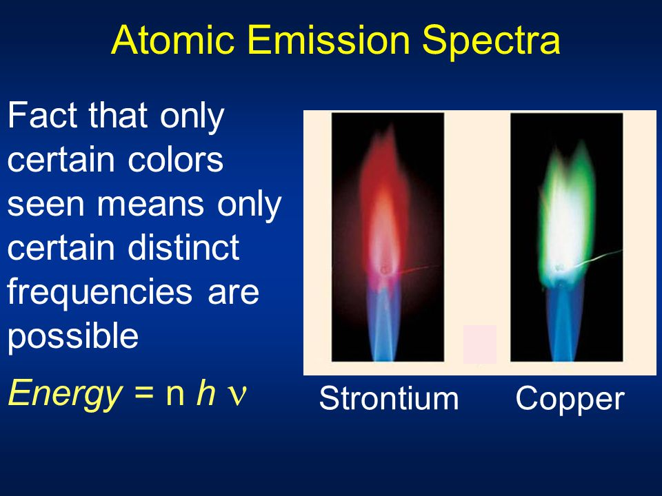 Atomic Emission Spectra The fact that only certain colors are seen in fireworks, neon signs, etc. is a further indication that energy can't come out o