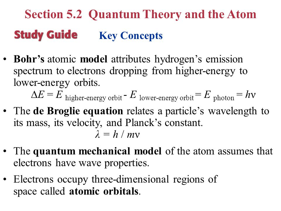 Section 5.2 Quantum Theory and the Atom Compare the Bohr and quantum mechanical models of the atom. Describe the process of atomic emission and calcul