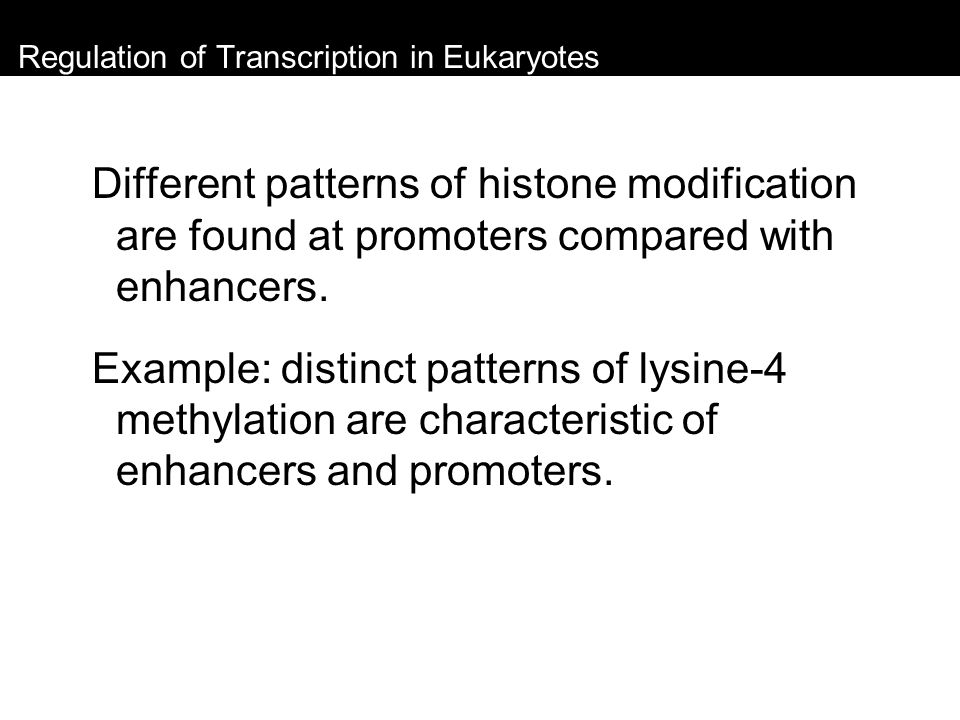 Regulation of Transcription in Eukaryotes Different patterns of histone modification are found at promoters compared with enhancers. Example: distinct