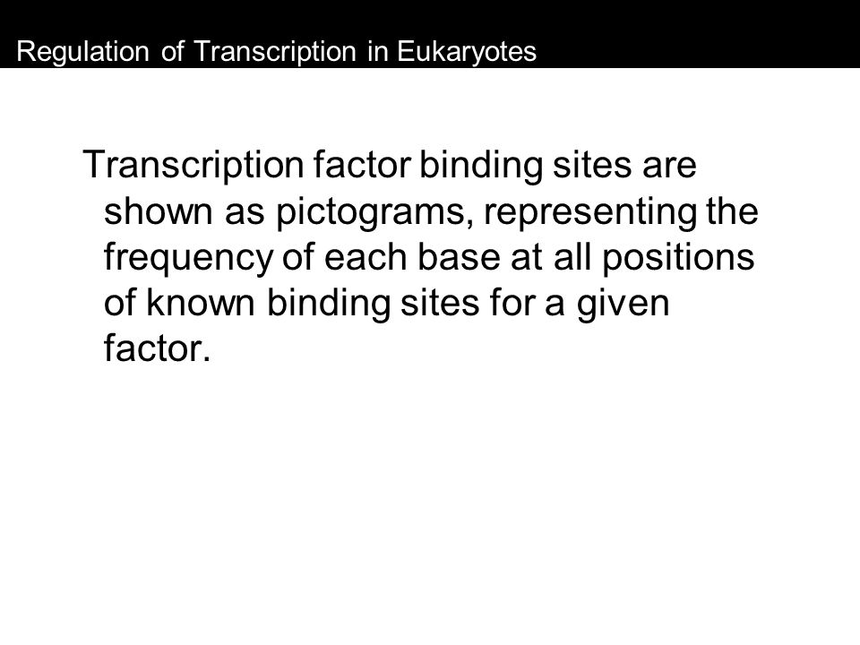 Regulation of Transcription in Eukaryotes Transcription factor binding sites are shown as pictograms, representing the frequency of each base at all p