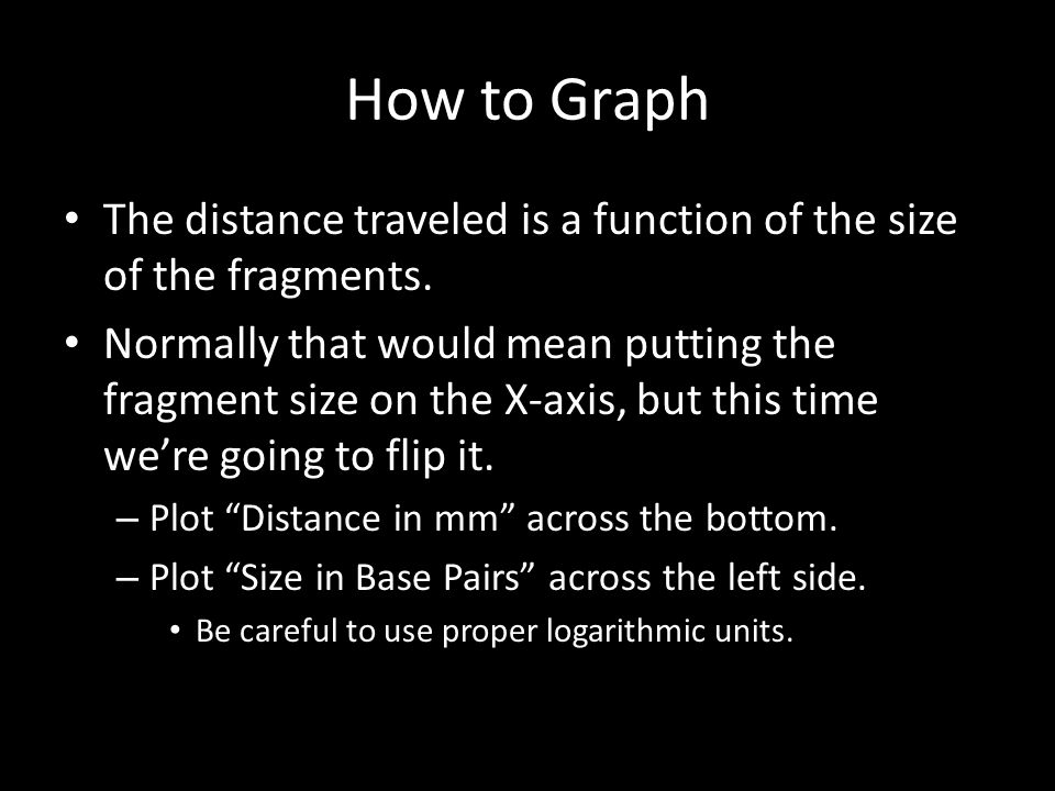 How to Graph The distance traveled is a function of the size of the fragments.