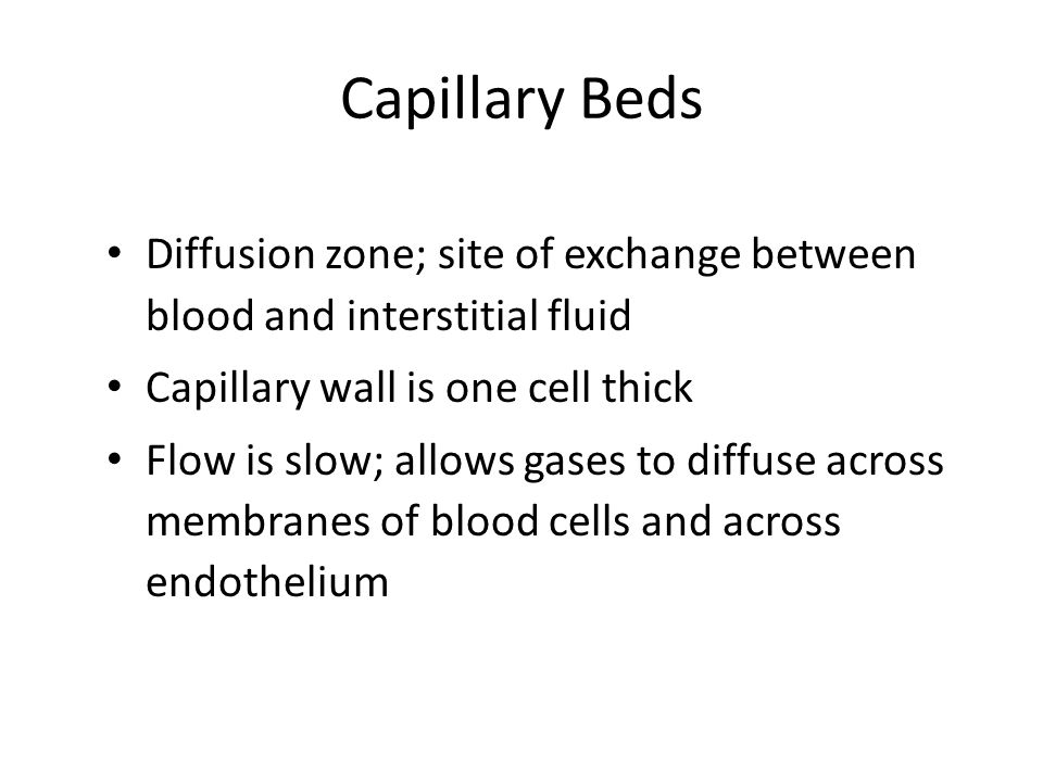 Capillary Beds Diffusion zone; site of exchange between blood and interstitial fluid Capillary wall is one cell thick Flow is slow; allows gases to diffuse across membranes of blood cells and across endothelium