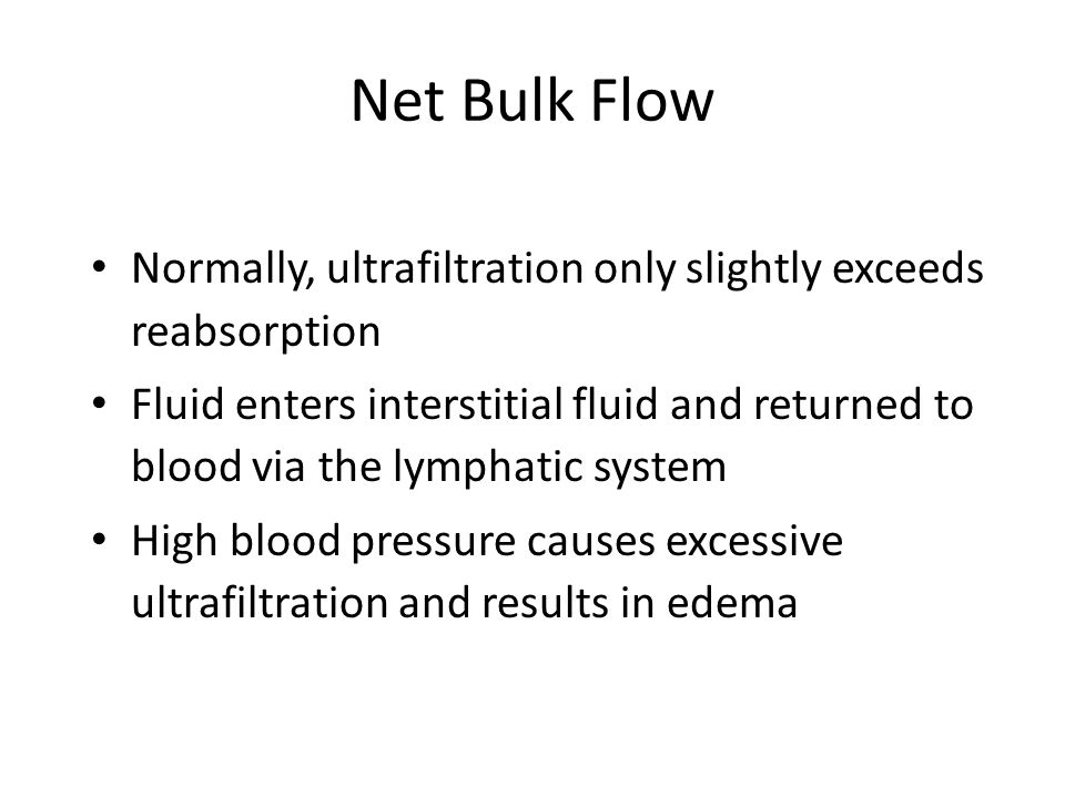 Net Bulk Flow Normally, ultrafiltration only slightly exceeds reabsorption Fluid enters interstitial fluid and returned to blood via the lymphatic system High blood pressure causes excessive ultrafiltration and results in edema