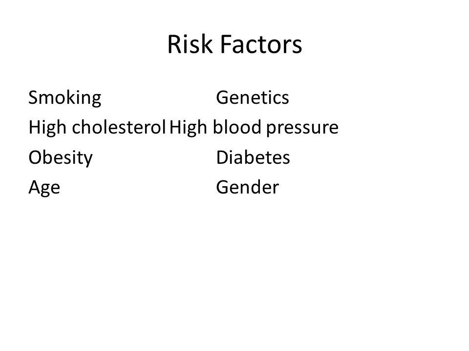 Risk Factors SmokingGenetics High cholesterolHigh blood pressure ObesityDiabetes AgeGender