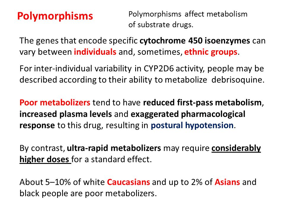 Polymorphisms The genes that encode specific cytochrome 450 isoenzymes can vary between individuals and, sometimes, ethnic groups. For inter-individua