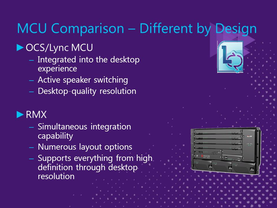 MCU Comparison – Different by Design ► OCS/Lync MCU – Integrated into the desktop experience – Active speaker switching – Desktop-quality resolution ► RMX – Simultaneous integration capability – Numerous layout options – Supports everything from high definition through desktop resolution