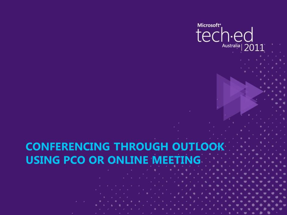 CONFERENCING THROUGH OUTLOOK USING PCO OR ONLINE MEETING