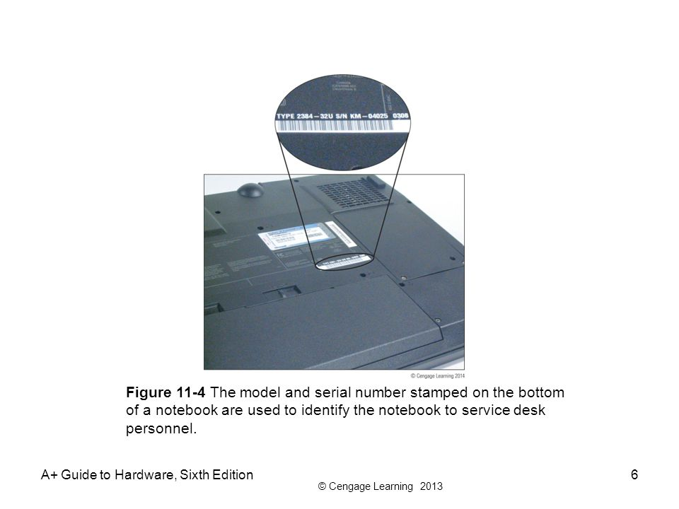 © Cengage Learning 2013 A+ Guide to Hardware, Sixth Edition6 Figure 11-4 The model and serial number stamped on the bottom of a notebook are used to i
