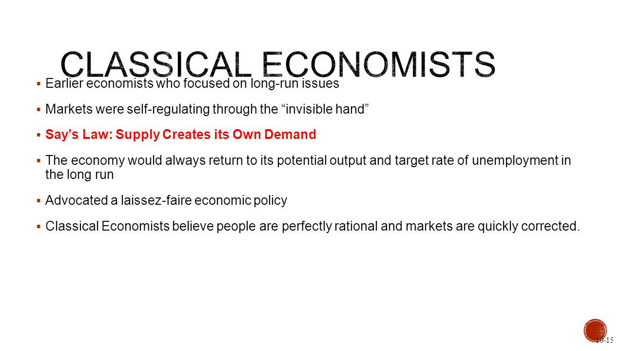 " Earlier economists who focused on long-run issues  Markets were self-regulating through the ""invisible hand""  Say's Law: Supply Creates its Own De"