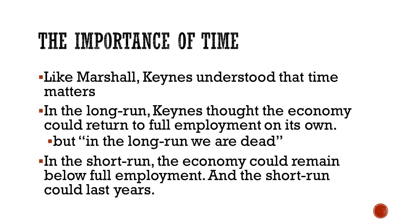  Like Marshall, Keynes understood that time matters  In the long-run, Keynes thought the economy could return to full employment on its own.  but ""