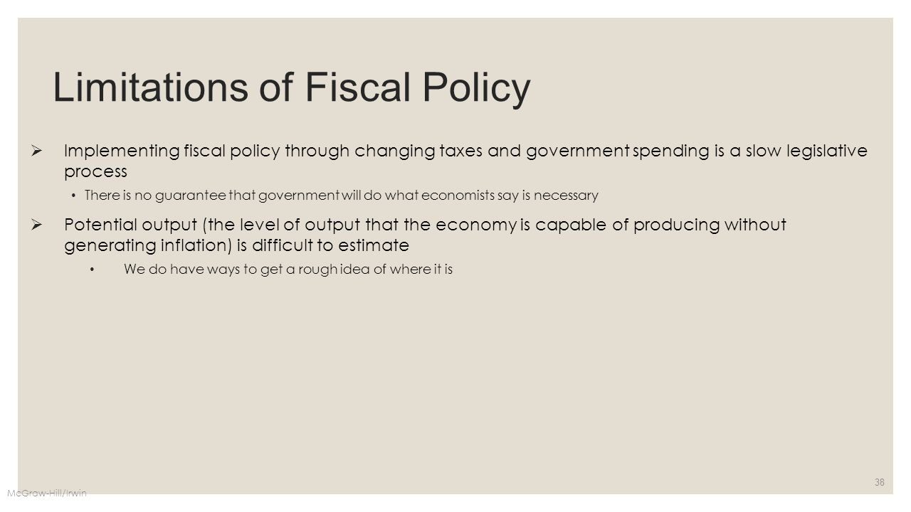 Limitations of Fiscal Policy  Implementing fiscal policy through changing taxes and government spending is a slow legislative process There is no gua