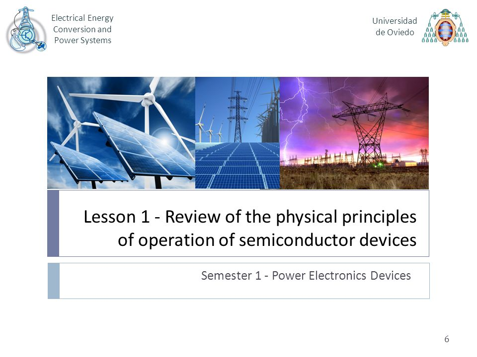 Lesson 1 - Review of the physical principles of operation of semiconductor devices Semester 1 - Power Electronics Devices Electrical Energy Conversion