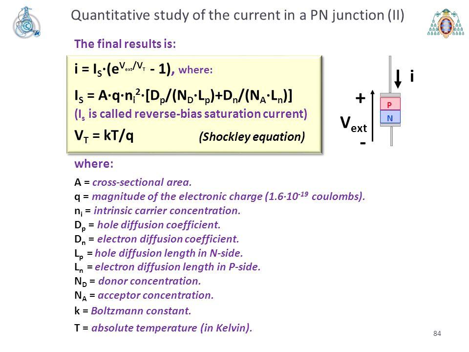 The final results is: i = I S ·(e V ext /V T - 1), where: I S = A·q·n i 2 ·[D p /(N D ·L p )+D n /(N A ·L n )] (I s is called reverse-bias saturation