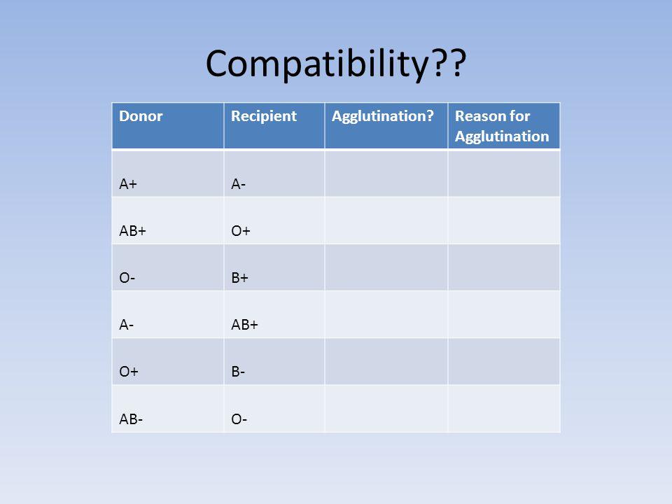 Compatibility?? DonorRecipientAgglutination?Reason for Agglutination A+A- AB+O+ O-B+ A-AB+ O+B- AB-O-