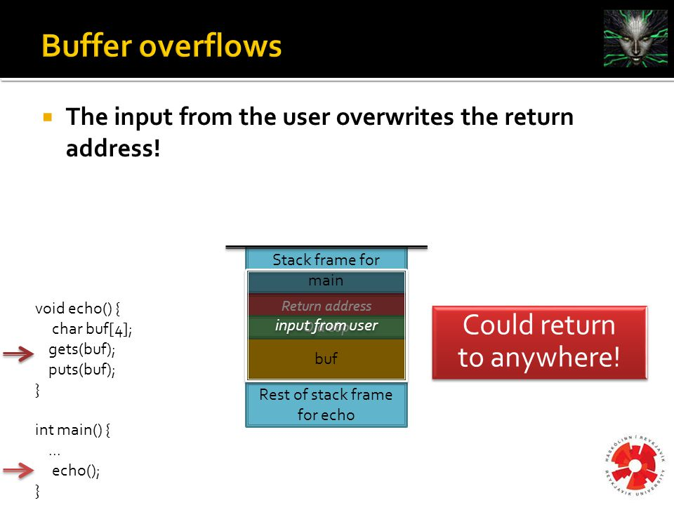  The input from the user overwrites the return address.