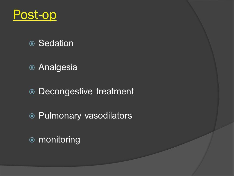Post-op  Sedation  Analgesia  Decongestive treatment  Pulmonary vasodilators  monitoring
