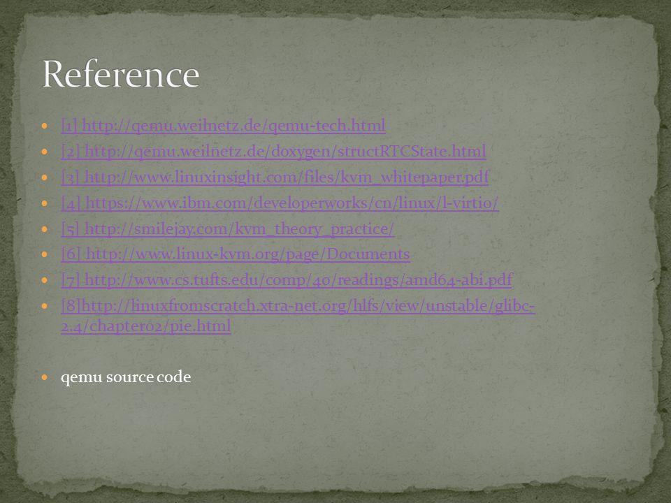 [1] http://qemu.weilnetz.de/qemu-tech.html [2] http://qemu.weilnetz.de/doxygen/structRTCState.html [3] http://www.linuxinsight.com/files/kvm_whitepaper.pdf [4] https://www.ibm.com/developerworks/cn/linux/l-virtio/ [5] http://smilejay.com/kvm_theory_practice/ [6] http://www.linux-kvm.org/page/Documents [7] http://www.cs.tufts.edu/comp/40/readings/amd64-abi.pdf [8]http://linuxfromscratch.xtra-net.org/hlfs/view/unstable/glibc- 2.4/chapter02/pie.html [8]http://linuxfromscratch.xtra-net.org/hlfs/view/unstable/glibc- 2.4/chapter02/pie.html qemu source code