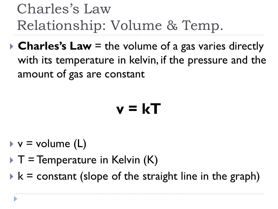 Charles's Law Relationship: Volume & Temp.