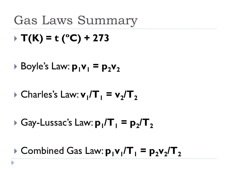 Gas Laws Summary  T(K) = t (ºC) + 273  Boyle's Law: p 1 v 1 = p 2 v 2  Charles's Law: v 1 /T 1 = v 2 /T 2  Gay-Lussac's Law: p 1 /T 1 = p 2 /T 2  Combined Gas Law: p 1 v 1 /T 1 = p 2 v 2 /T 2