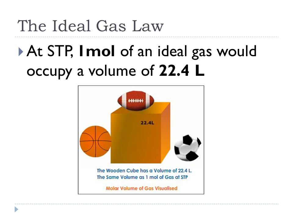 The Ideal Gas Law  At STP, 1mol of an ideal gas would occupy a volume of 22.4 L