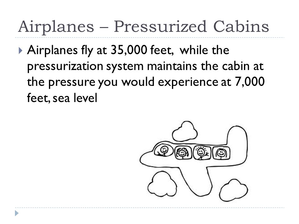 Airplanes – Pressurized Cabins  Airplanes fly at 35,000 feet, while the pressurization system maintains the cabin at the pressure you would experience at 7,000 feet, sea level